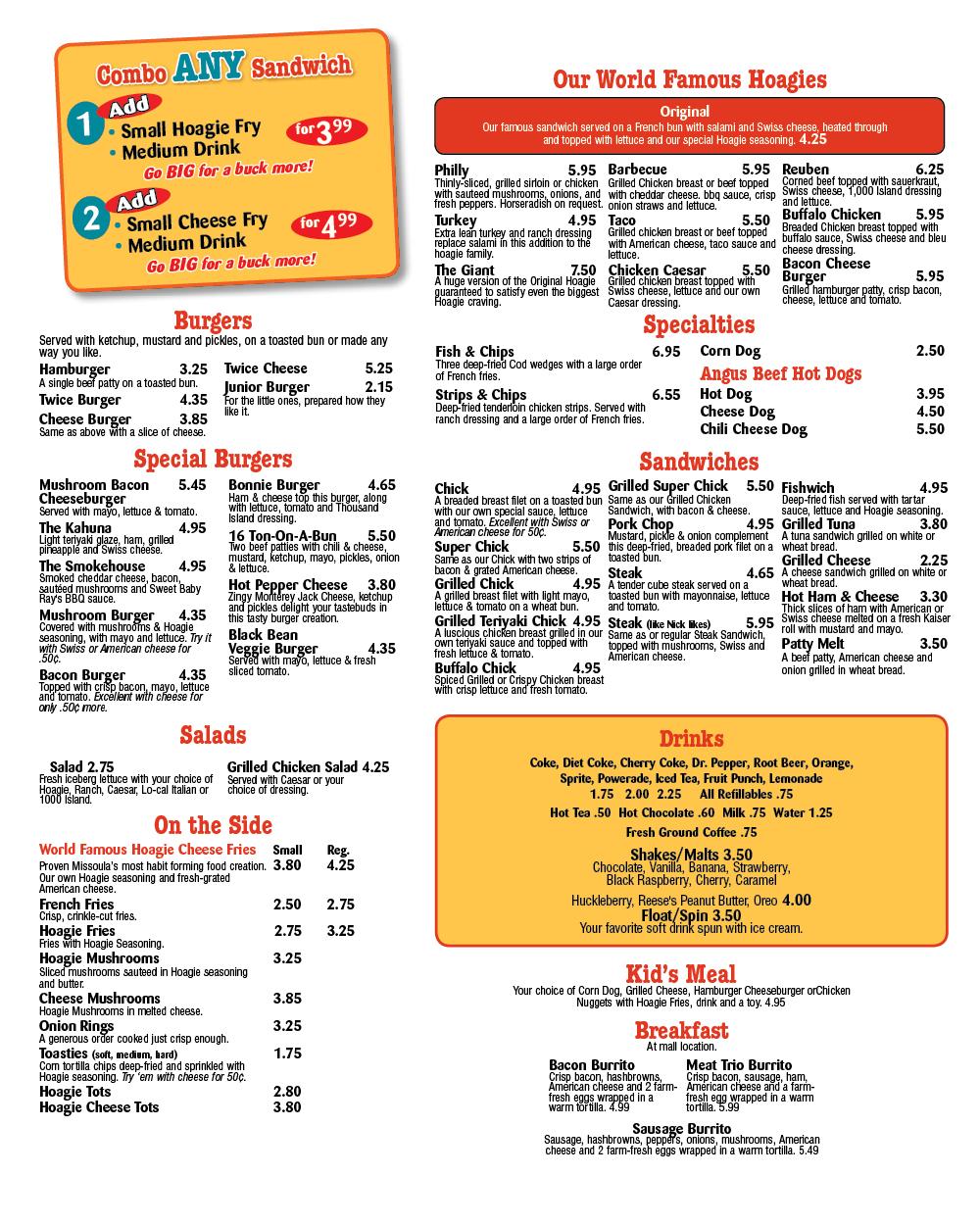 Hoagieville menu to-go Mall & Reserve